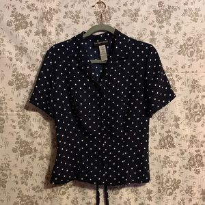 SAG HARBOR Navy Blue Polka Dot Top